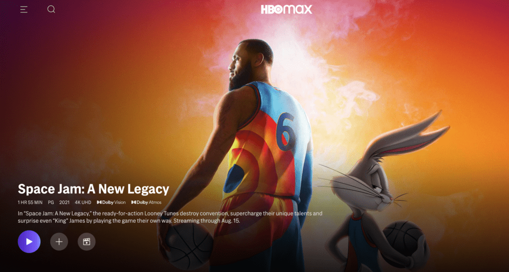 Space Jam: A New Legacy on HBO Max [Source: HBO Max, via screenshot]