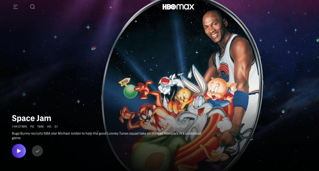 Space Jam (1996) on HBO Max [Source: HBO Max, via screenshot]