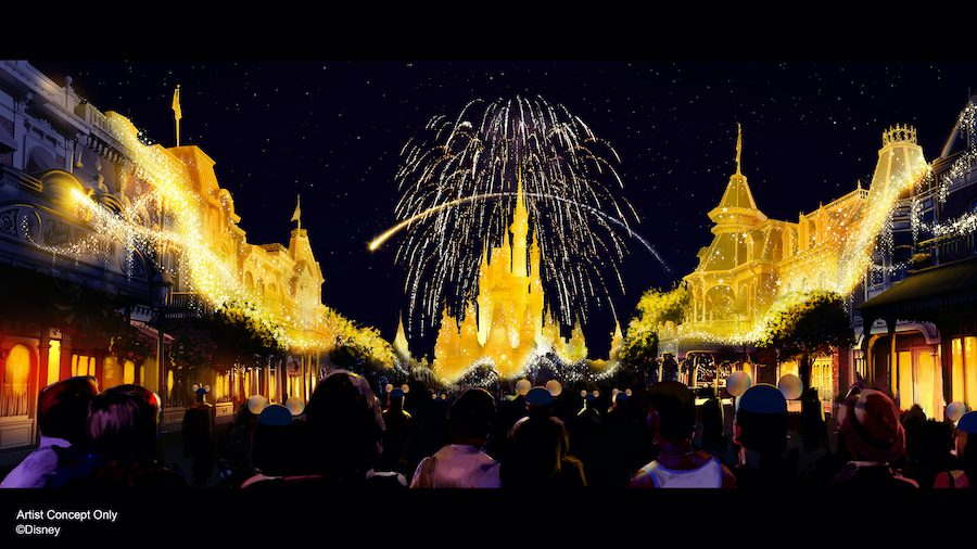 """""""A new nighttime spectacular, """"Disney Enchantment,"""" will debut Oct. 1, 2021, at Magic Kingdom Park in Lake Buena Vista, Fla. Created to launch with the """"World's Most Magical Celebration"""" the show will take guests on a journey filled with adventure, wonder and empowerment, inspiring guests to believe in magic. """"Disney Enchantment"""" will feature music, enhanced lighting, stunning fireworks and, for the first time, immersive projection effects that extend from Cinderella Castle down Main Street, U.S.A."""" [Source: Disney]"""