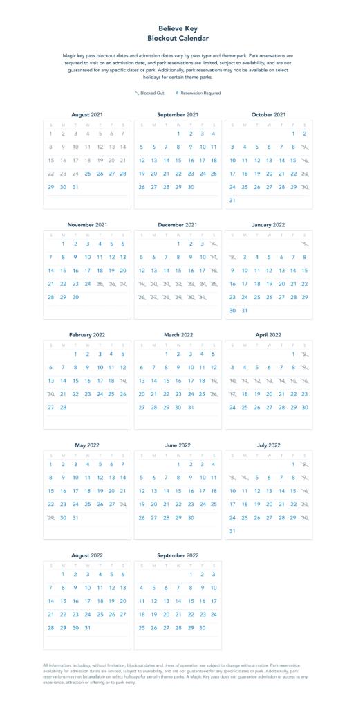Believe Key Blockout Dates [Source: Disneyland]