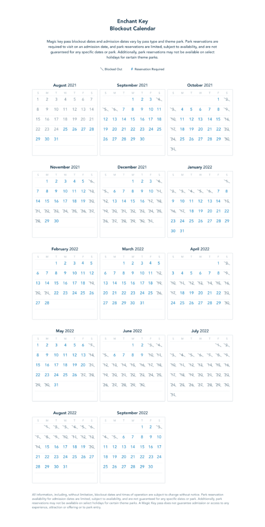 Enchant Key Blockout Dates [Source: Disneyland]
