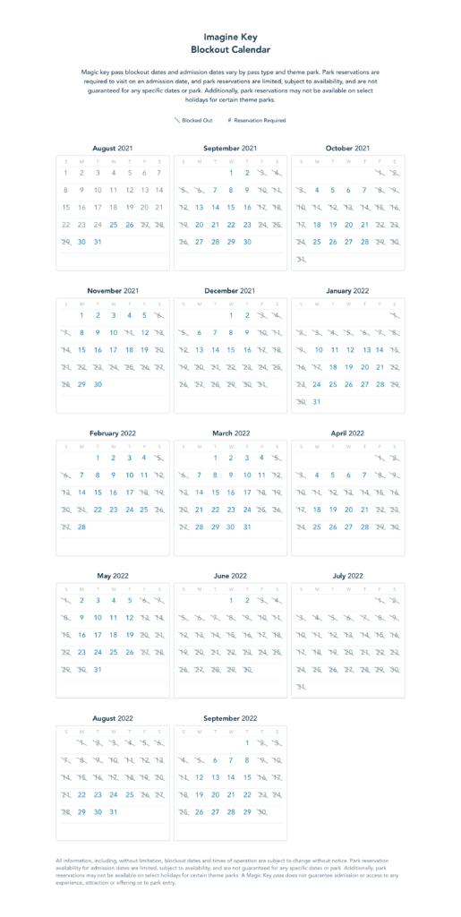 Imagine Key Blockout Dates [Source: Disneyland]