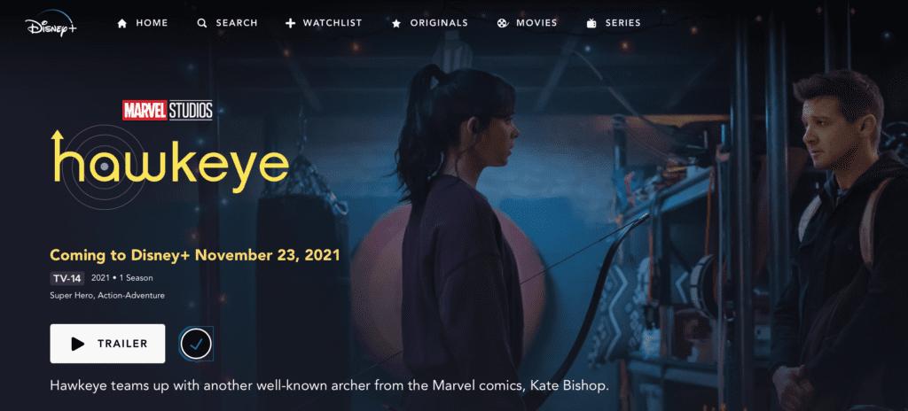 Hawkeye Trailer on Disney Plus [Source: Screenshot via Disney+]