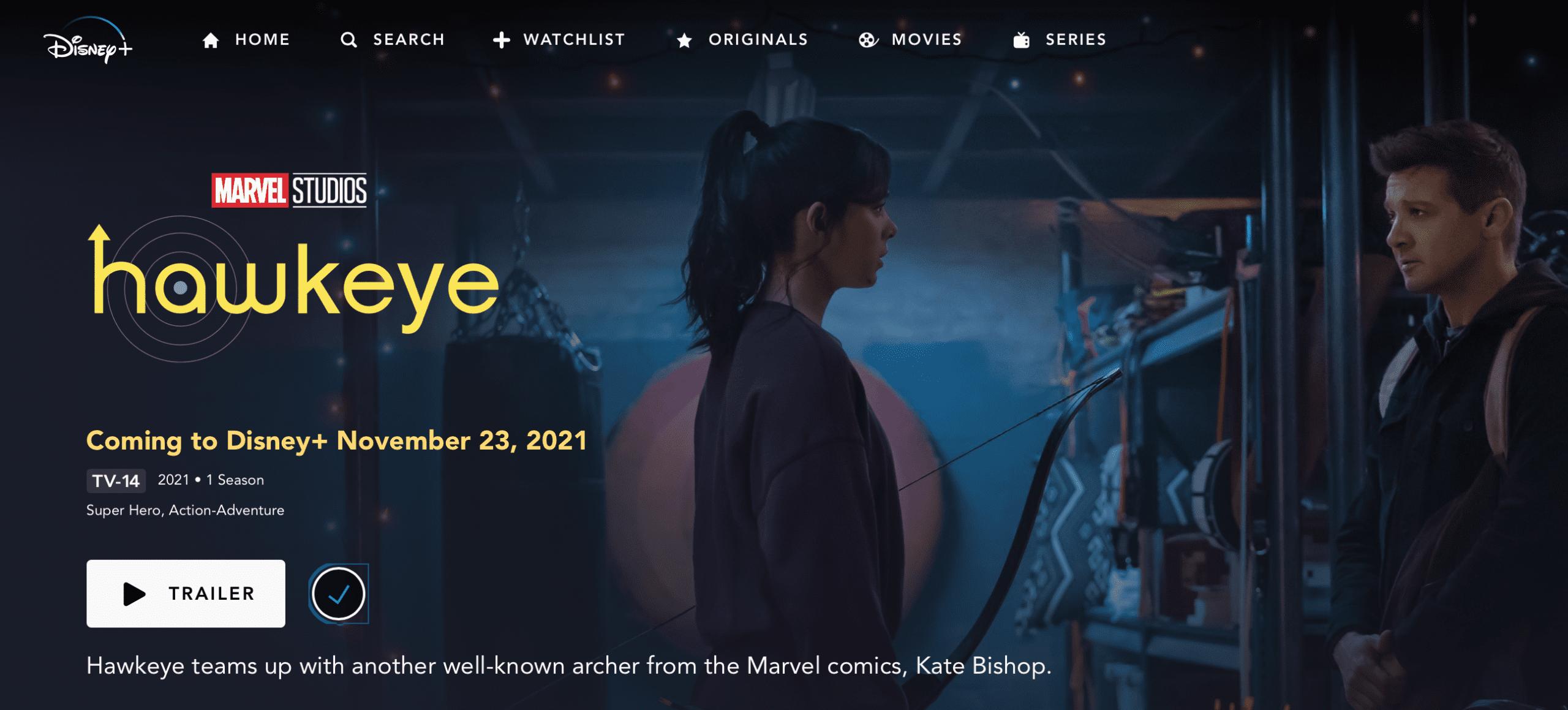 Hawkeye Trailer on Disney Plus