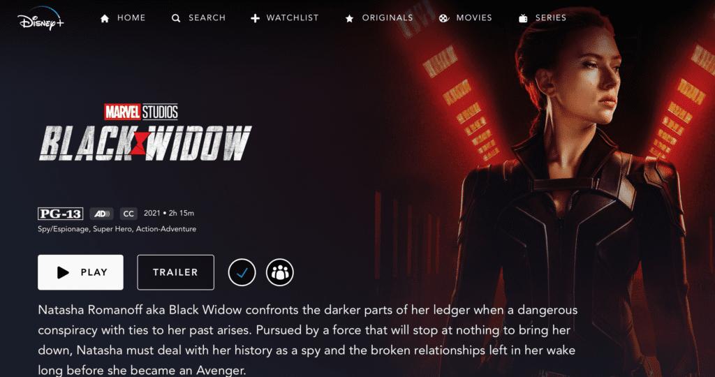 What time will Black Widow drop on Disney Plus? [Source: Screenshot via Disney Plus]